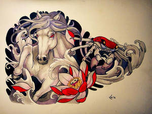 Tattoo design - Horse and crab (commission)