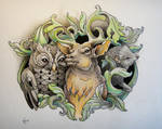 Tattoo design - Owl, Deer and Hedgehog