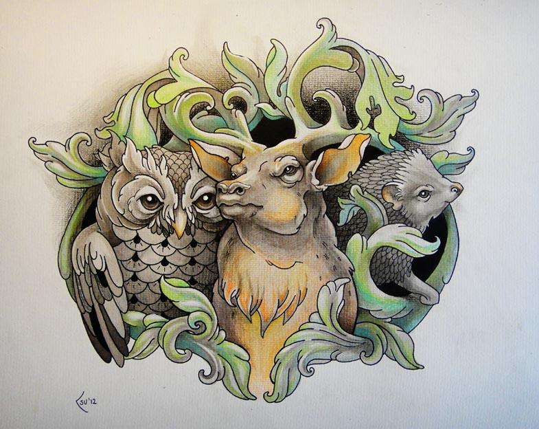 Tattoo design - Owl, Deer and Hedgehog by Xenija88