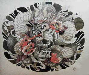 Tattoo design - Dragon and Skull