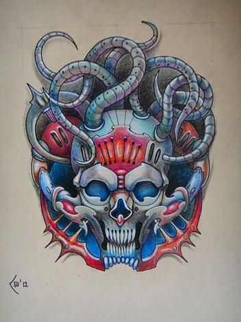 Tattoo design - Biomechanical skull commission by Xenija88
