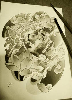 Lotus and skull