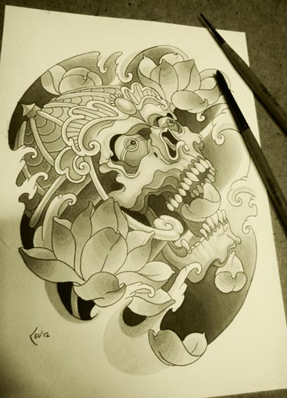 Lotus and skull by Xenija88