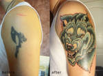 cover up tattoo Wolf