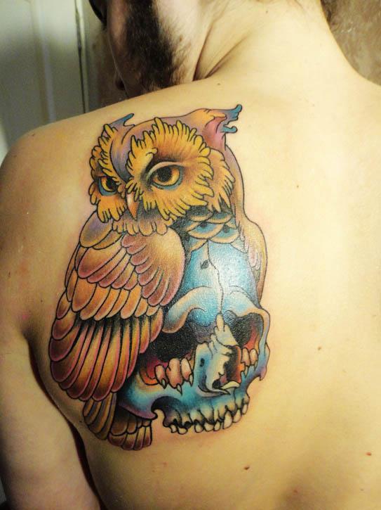 Tattoo - Owl and skull by Xenija88