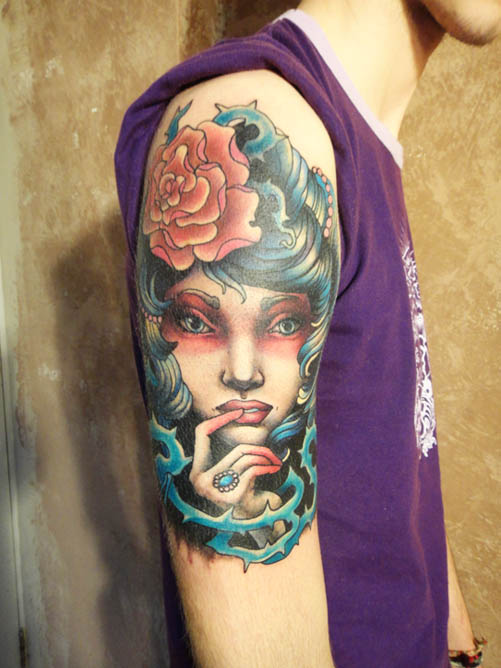Tattoo - Girl with blue hair by Xenija88