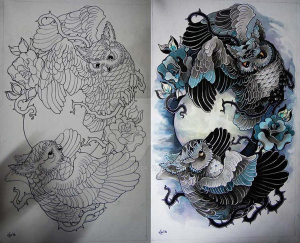 Tattoo design - Owls by Xenija88