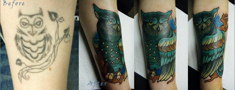 Tattoo - Owl cover-up by Xenija88