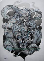 Foo Dog, Skull and snake by Xenija88