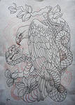 Tattoo design - Eagle and snake  lineart
