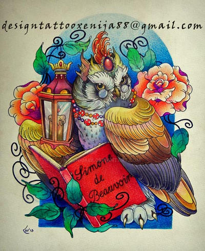 Tattoo design - Owl and book by Xenija88