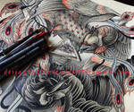 Tattoo design - Raven and Phoenix, fragment