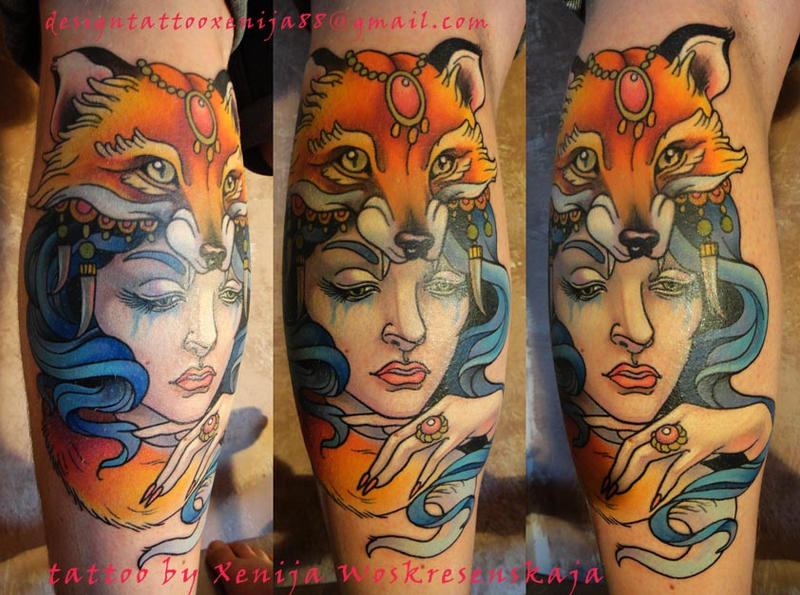 Tattoo - Shaman girl with fox head by Xenija88 on DeviantArt