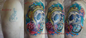 Tattoo - Skull and compass cover up