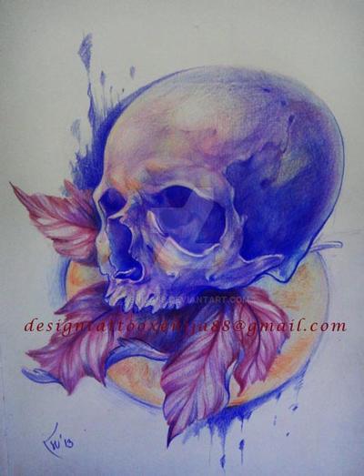 Tattoo design - Skull and leaf by Xenija88