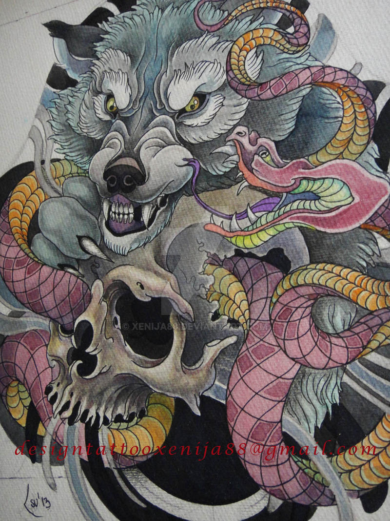 Tattoo design - Wolf, snake, skull by Xenija88