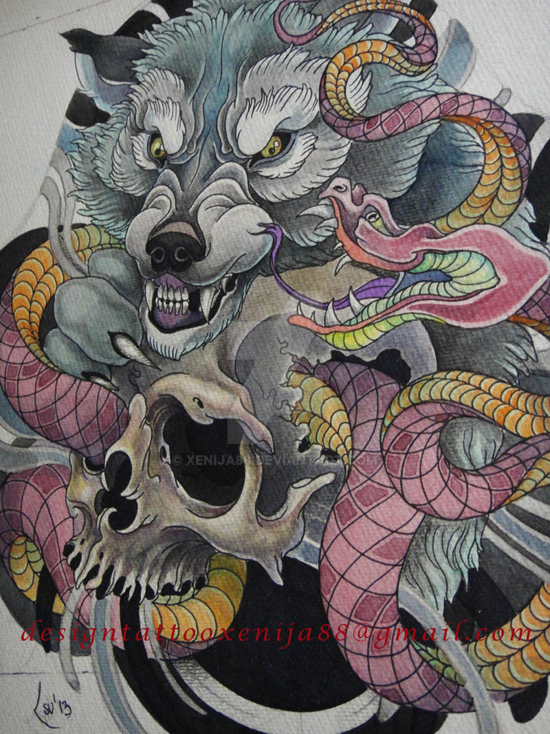 Tattoo Design Wolf Snake Skull By Xenija88 On Deviantart
