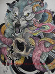 Tattoo design - Wolf, snake, skull