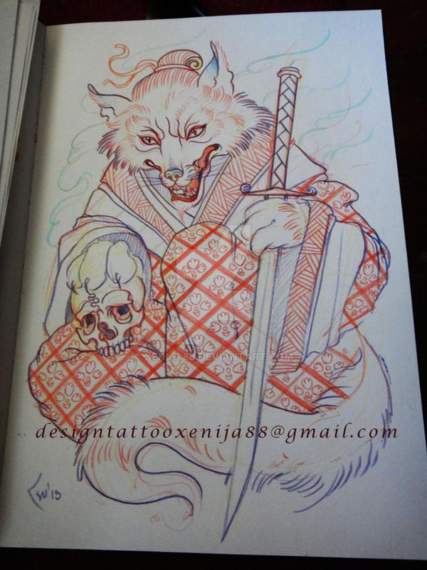 Tattoo design - Fox sketch by Xenija88