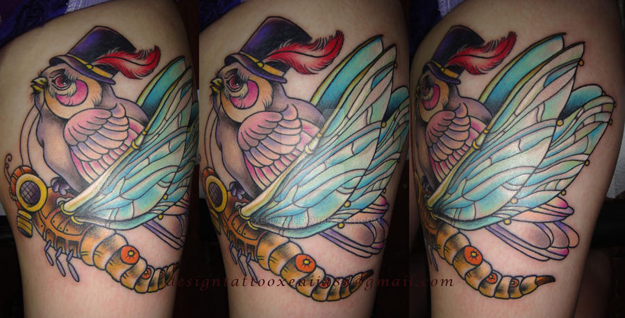 Tattoo - Bird and dragonfly by Xenija88