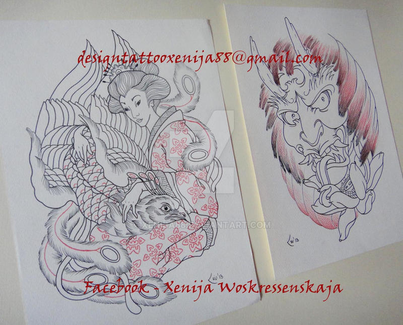 Tattoo design- Geisha andPhoenix and Hannya Mask by Xenija88