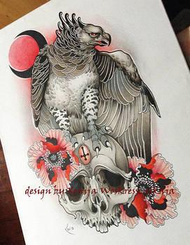 Tattoo Design - Harpia, Skull and flowers