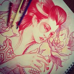 Sketch for tattoo geisha