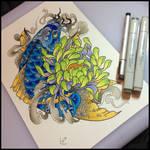 Tattoo design - koi and chrysanthemum
