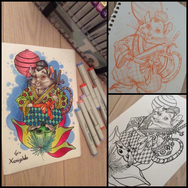 Tattoo design - mouse samurai by Xenija88