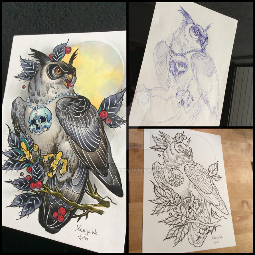 Tattoodesign - Owl with moon by Xenija88