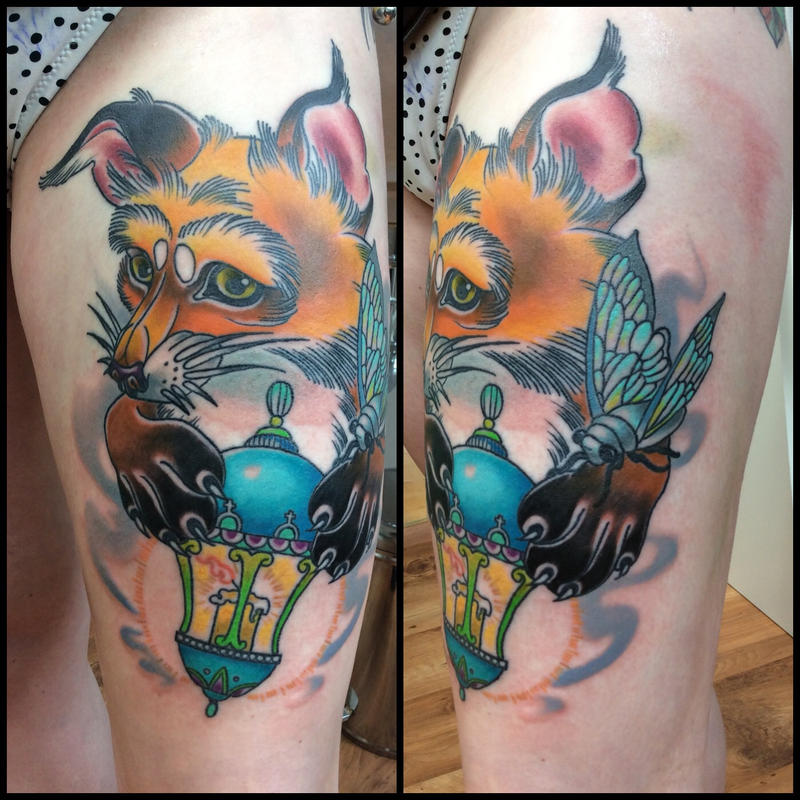 Tattoo Fox and flashlight by Xenija88