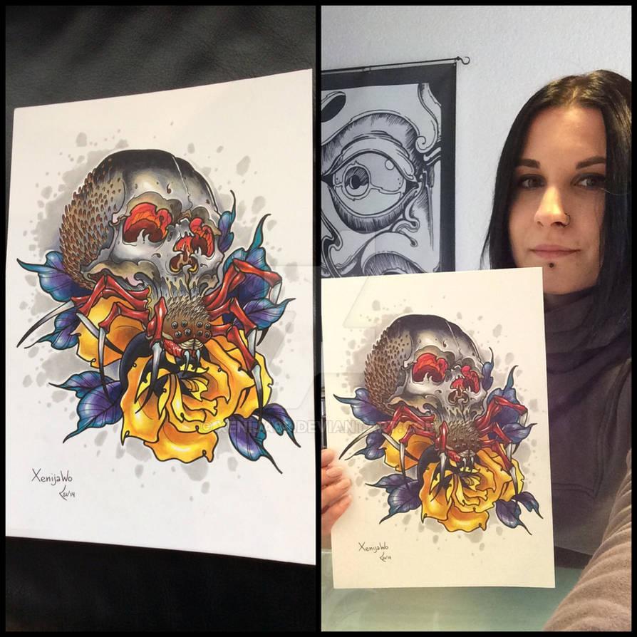 Tattoo design - Spider and rose