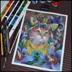 Watercolor Guardian Cat