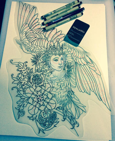 Tattoo design - Sirin by Xenija88