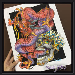 Tattoo design Dragon and Skull