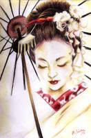 Geisha under the umbrella by HisakiChan