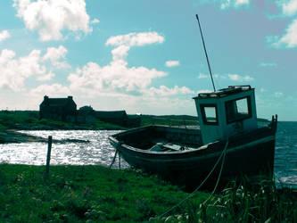 fishingboat in sand bank