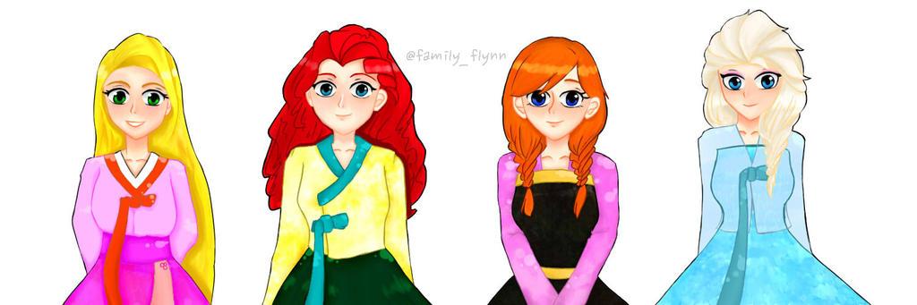 HanBok Rapunzel Merida Anna Elsa By Jany949 On DeviantArt