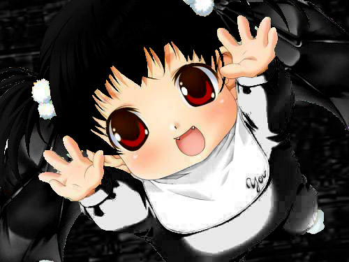 Anime baby with black hair