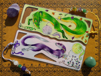 Green Fox/Purple Ermine Bookmark - Commission by AndromedasWitchery