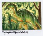 Hadrosaur Foulkii ATC 138 - Commission 1/2 by AndromedasWitchery