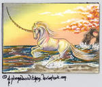 Seaside Unicorn 153 ATC (OPEN for TRADE) by AndromedasWitchery