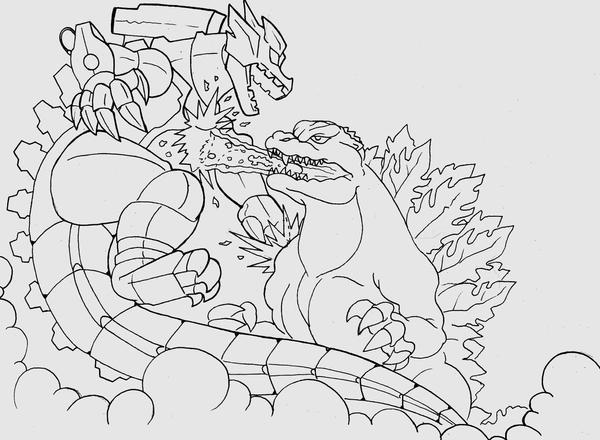 Godzilla vs Mechagodzilla by brigebane