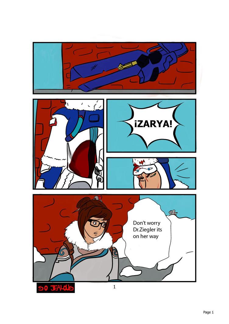 overwatch-mini comic(zarya x mei) pag 1/2 by SojealousTS