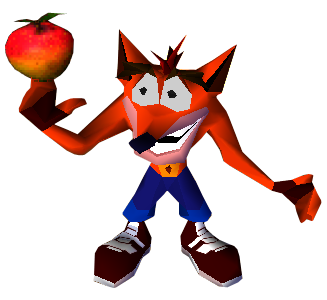 crash bandicoot joue avec une pomme wumpa