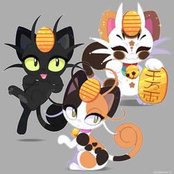 Pokemon: Meowth Variations by QueenAshi
