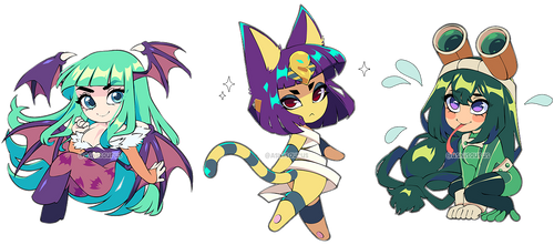 Patreon Chibis: Morrigan, Ankha, and Froppy by QueenAshi