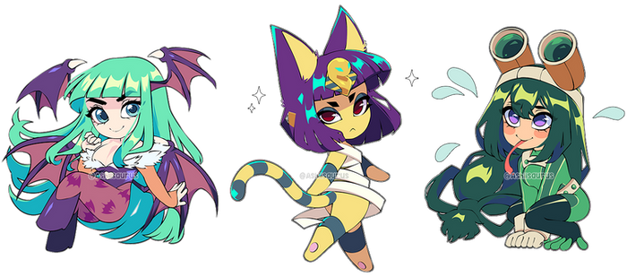 Patreon Chibis: Morrigan, Ankha, and Froppy