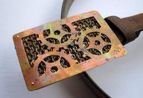 Weathered Copper Gear Belt Buckle