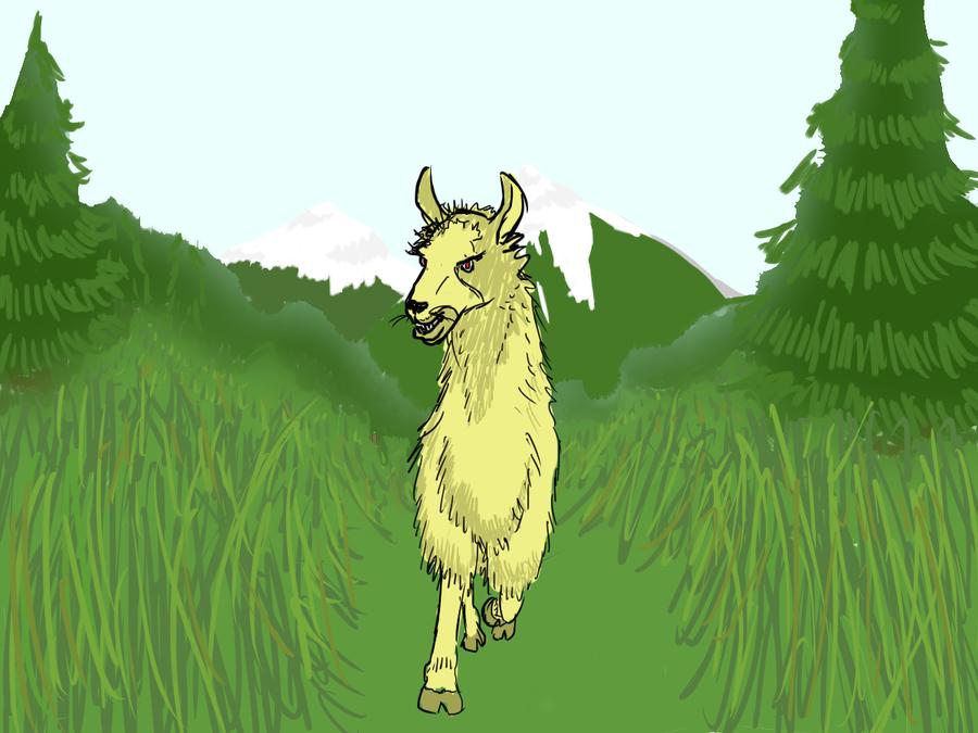 crazy llama attack by Pjczar